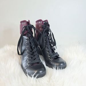 SEE BY CHLOE Nubuck Two-Tone Leather Wedge Burgundy Sneakers size 36